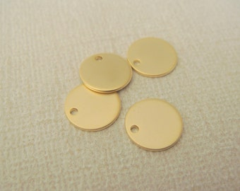 Matte Gold Tarnish Resistant small round blank bead disk Connectors, Stamping Blank Circle pendants, 2 pc, L616696