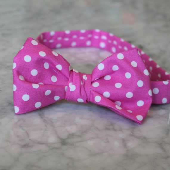 Bow Tie in Fuchsia Polka Dots for boys or men- clip on, pre-tied with strap or self tying - ringbearer or groomsmen attire