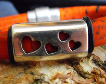 Orange Licorice leather magnetic Bracelet