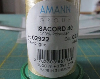 1 Spool - Isacord 40 Thread, Polyester, 1094 yds., Embroidery Thread 02922 / 0532 Champagne