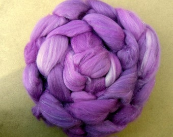 Merino Silk Sparkle Blend Rovings, Wool Tops, Spinning Fibre, Hand dyed fibre, pink, purple 120g