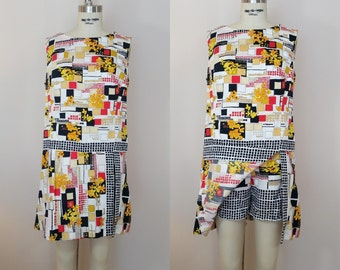 1960s Dress with Shorts // HIP to BE SQUARE Dress // Vintage 60s Romper Dress // Large