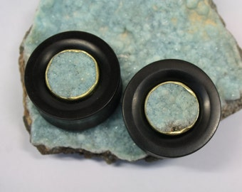 "SALE 1 1/4"" Hemimorphite Druzy and Brass Inlay Plugs"