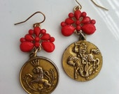 Red and Gold Vintage Mixed Earings