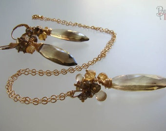 Genuine Quartz Pedant, Dangle Earrings, Andalusite, Citrine beads, Gold Filled Chain Necklace, Gold filled Jewelry set