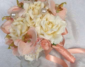 Ivory rose and peach orchid bridal bouquet bouquet