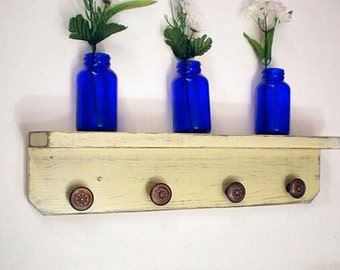 Wall Shelf with 4 Round Antique Style Bronze Knobs, Shabby Chic / French Country-Creamy Yellow