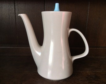 Vintage English Large Poole Pottery England Coffee Tea Pot Cream Beige Blue circa 1960's / English Shop