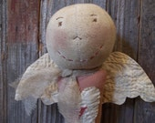 Sweet Primitive Handmade Valentines Angel Door Greeter/Peg Hanger