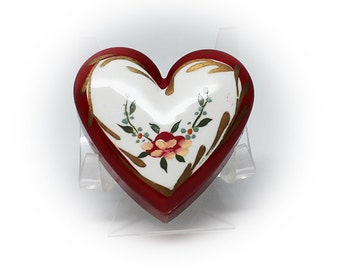 Hand Painted Heart Shaped Porcelain Trinket Box