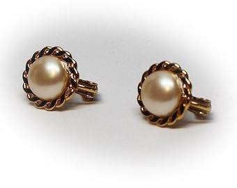 Vintage Gold Tone Crown Faux Pearl Earrings