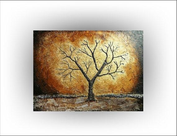 TREE Original Painting Gold Sepia Brown 40 x 30 Skye Taylor