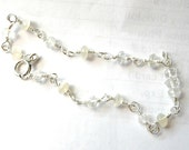 Dainty Moonstone & Clear Quartz Bracelet - Sterling Silver / Cream, Clear, Chatoyant, Romantic Classic Jewelry, Winter Wedding