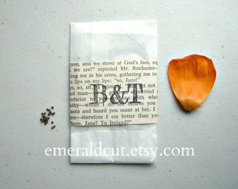ONE Sample Wedding Favor Seed Packet Vintage Custom Initials - California Poppy / Hand Stamped Book Pages, Bridal Shower Engagement Gift