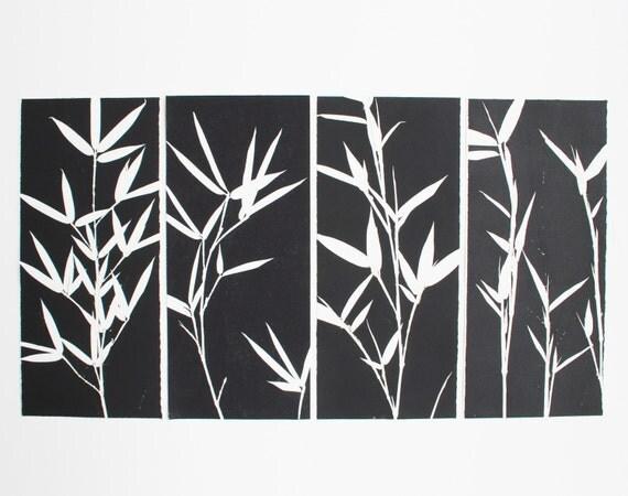 Modern Art, Contemporary Art, Original Etching, Bamboo Zen Design