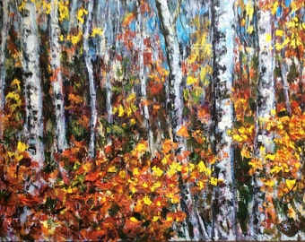 Birches Trees Aspen Trees  original painting Made to order