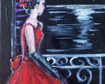 "Woman in Red Dress painting original art 7 x 5"""