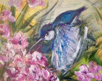"Hummingbird painting original art 6 x 6"""