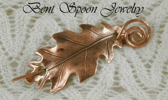 Scarf Pin, Shawl Pin, Shrug Pin,  Copper Oak Leaf  Shawl Pin, Bent Spoon Jewelry