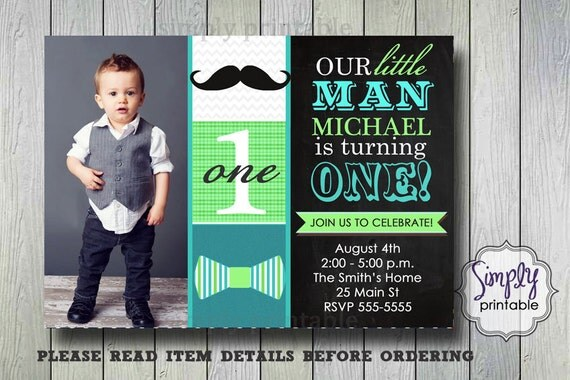 Mustache Invitation, Little Man Invite, Chalkbard, Bowtie Boy Birthday