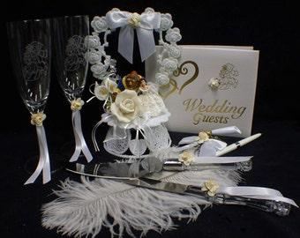 Disney Beauty and the Beast Wedding Cake Topper lot Glasses, knife, server, guest book, pen, holder, garter