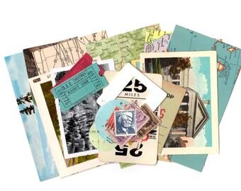 SALE - 25 Piece Mini Road Trip USA Ephemera Collage Kit - Mixed Media, Altered Art, Collage, Scrapbooking, Travel Journal Supplies