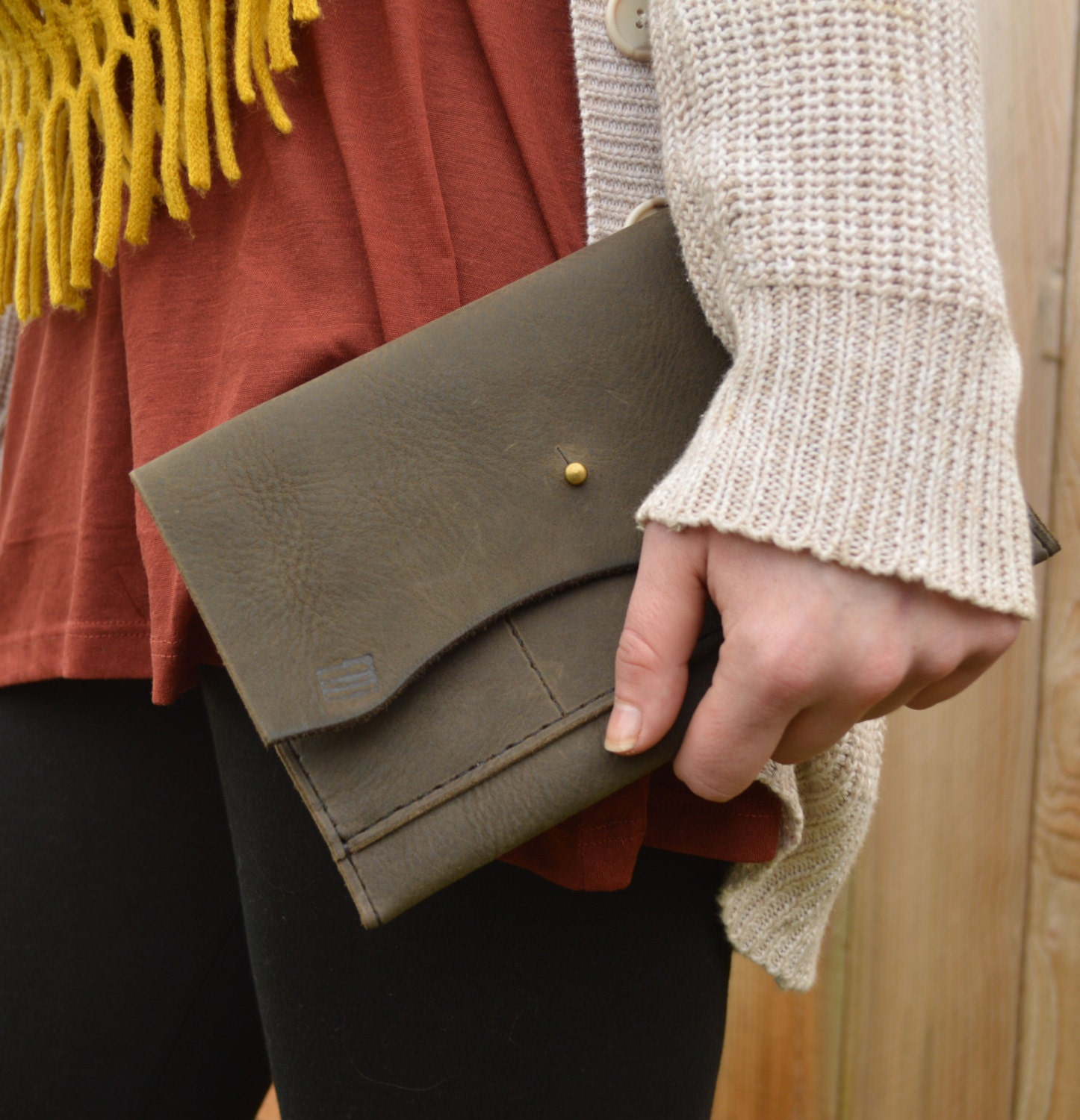 Leather clutch in deep olive steampunk buy now online