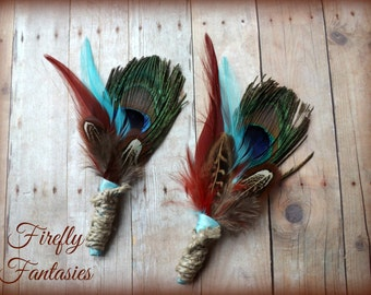 Rustic Peacock and Feathers Boutonniere - Crimson Red and Teal Blue Green Men's Groom Lapel pin pheasant  hemp twine