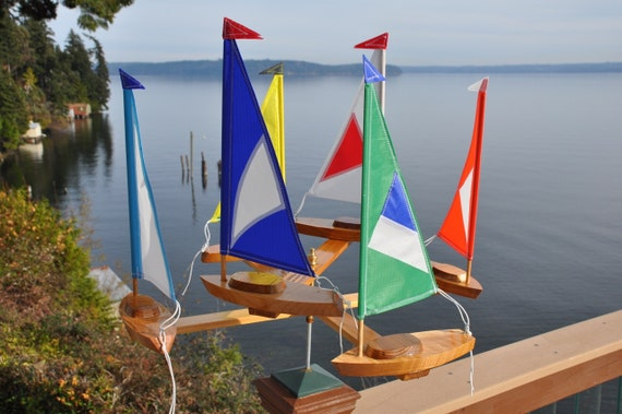New (6) Sailboat Whirligig