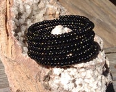 Black beaded spiral wrap bracelet/memory wire bracelet