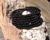 Black beaded spiral wrap bracelet/memory wire bracelet