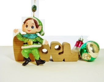Hand Painted Elf Christmas Ornament Vintage Flocked With New Sparkle Collectible