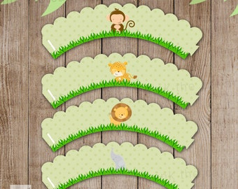 Jungle Cupcake Wrappers Baby Boy Shower Birthday Party Decoration Printable INSTANT DOWNLOAD