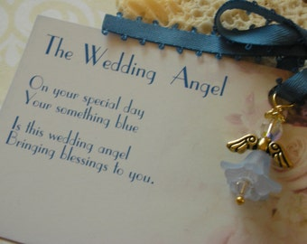 The Swarovski Wedding Angel-Wedding Angel Bouquet Charm-Gift from Mom to Bride-Blue Garter Charm-Something Blue
