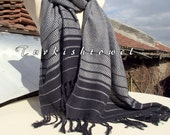 Turkishtowel-2015 Collection-Hand woven,loose weave like gauze cotton warp and weft,soft Shawl-Very warm,lovely-Grey and black pin stripes