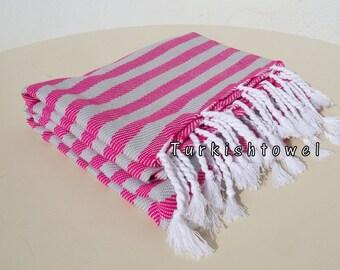 Turkishtowel-NEW Colors, Soft-High Quality,Hand Woven,Cotton Bath,Beach,Pool,Spa,Yoga,Travel Towel-Fuchsia,Light Grey Stripes