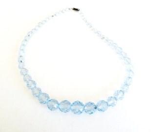 Vintage Czech Blue Faceted Crystal Sterling Necklace COK401