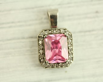 Vintage Pink White CZ Sterling Silver Pendant (ET325 )