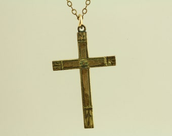 Vintage Cross Etched Pendant Gold Filled Chain Necklace (ET464 )