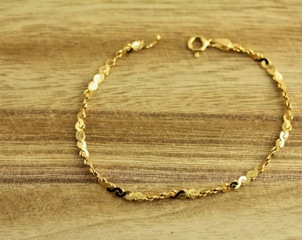 Sterling Silver Gold Plated Twisted Chain Bracelet Italy 925 Rich Quality (ET505 )