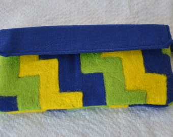 Clutch Blue Lime Green Yellow Needle Felted Geometric Design Eco Friendly