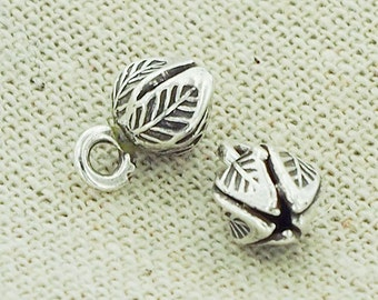 4 of Karen Hill Tribe Silver Lotus Charms 6.5x7 mm. :ka3994
