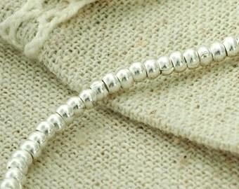 """95 of Karen Hill Tribe Silver  Plain Rondelle Beads 2.5x1.7mm. , 6.5 """" :ka4005"""