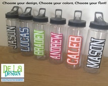 Personalized Clear plastic sport water bottle, Flip top w/ straw, 22 oz size, LOTS of DESIGNS available, polka dots, sports or custom design
