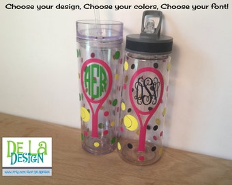 Tennis or other sport, Personalized w/name acrylic tumbler, Racket, Available in skinny, standard, sport bottle, mason, kiddie cup & XL cup