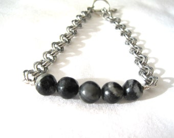 Beaded Bracelet - Chainmaille Bracelet - Black Jasper - 2 in 2 Chainmaille - Gemstone Bracelet - Beaded Chainmaille - Made in Canada
