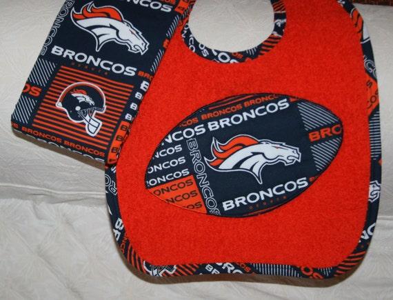 Denver Broncos Baby Football Baby Bib on an Orange Bib with
