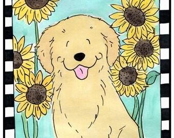 Golden Retriever and Sunflowers  T shirt