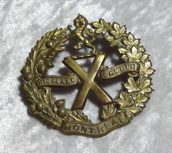 ON SALE Antique Montreal Highland Cadets Brass Cap Badge