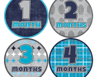 1st Year Baby Month Stickers, PLUS Just Born Sticker, Baby Boy Milestone Stickers, Monthly Bodysuit Stickers, Plaid White Blue Grey 034B